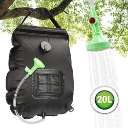 ASANMU Camping Shower Bag, 20L Solar Shower Bag Outdoor Solar Heating Portable Outdoor Shower Bag with Removable Hose and Switchable Shower Head, for Traveling Beach Swimming Garden Hiking – Black