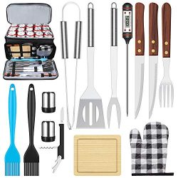 AISITIN BBQ Grill Accessories with Insulated Cooler Bag, Grill Utensils Set BBQ Grilling Accessories 15PCS BBQ Tools Set, Stainless Steel Grill Set for Smoker, Camping, Kitchen Grill Tool Set for Men