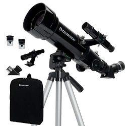 Celestron – 70mm Travel Scope – Portable Refractor Telescope – Fully-Coated Glass Optics – Ideal Telescope for Beginners – BONUS Astronomy Software Package
