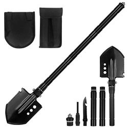 OSPACE Camping Shovel, Survival Shovel with Wood Saw Edge, Tactical Entrenching Tool for Outdoor Hunting, Camping, Hiking, Emergency Situations