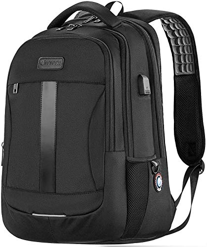 Laptop Backpack, 17-Inch Sosoon Travel Backpack for Laptop and Notebook, High School College Bookbag for Women Men Boys, Anti-Theft Water Resistant Bussiness Bag with USB Charging Port, Black
