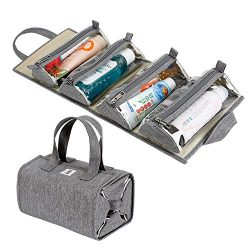 Hanging Roll-Up Makeup Bag / Toiletry Kit / Travel Organizer for Women – 4 Removable Storage Bags – Organize Make Up, Cosmetics, First Aid, Medicine, Personal Care, Bathroom, Palette / Brush Holder