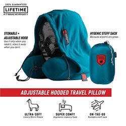 GRAND TRUNK Hooded Travel Pillow – Perfect Neck Pillow for Car or Airplane Sleeping – 360 Neck and Head Support, High-Grade Memory Foam, Adjustable Light-Blocking Hood, Carry Bag, Peacock Green