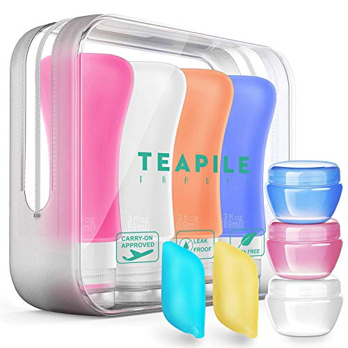 4 Pack Travel Bottles, TSA Approved Containers, 3oz Leak Proof Travel Accessories Toiletries,Travel Shampoo And Conditioner Bottles,Perfect for Business or Personal Travel, Fun Outdoors 9 Pieces